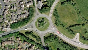 The roundabout near junction 31A where the collision occurred