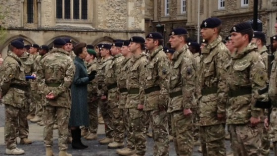 Princess Anne with troops