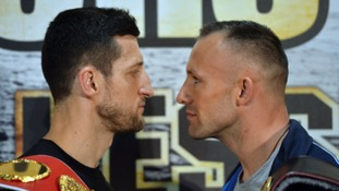 Carl Froch (left) and Mikkel Kessler during a press conference at the O2 Arena, London.