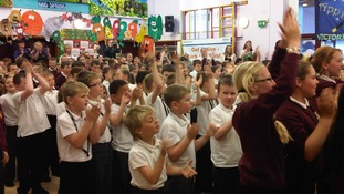 Pupils at Victoria Junior school dance along to District 3.