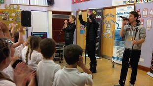 District 3 perform songs for competition-winning Victoria Junior school.