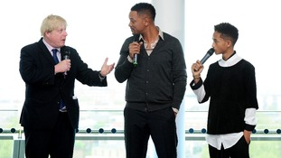 London's mayor Boris Johnson with Jayden and Will Smith.