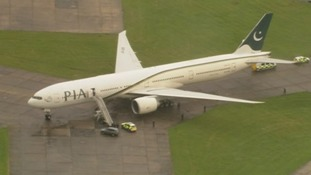 The Pakistan International Airlines plane pictured at Stansted Airport.