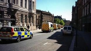 Police vans lined up in Newcastle