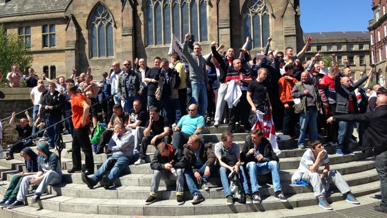 EDL supporters outside St Mary's Catholic Cathedral in Newcastle