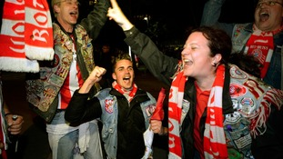Bayern Munich fans celebrate outside Wembley Stadium