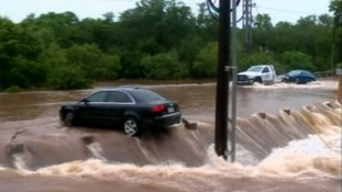 Cars stranded in the floodwater