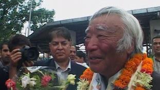 Yuichiro Miura receives a hero's welcome in Kathmandu, Nepal