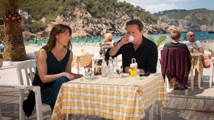 The Prime Minister enjoys an espresso on holiday with his wife Samantha
