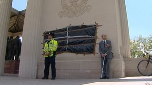 The spray paint has been covered at the Bomber Command monument