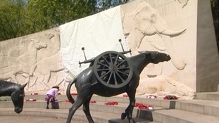 The Animals In War memorial covered over