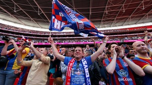 Crystal Palace fans celebrate in the stands