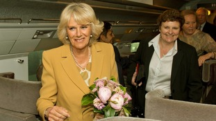 The Duchess of Cornwall boards the Eurostar train at St. Pancras station in London