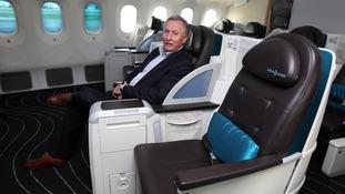 Atlantic CEO Steve Ridgway sits in a seat onboard the Boeing Dreamliner 787