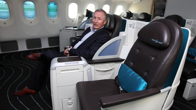 Atlantic CEO Steve Ridgway sits in a seat onboard the Boeing Dreamliner 787