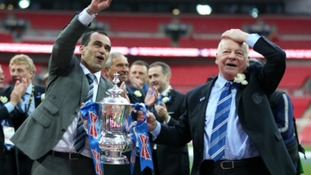 Martinez and Whelan following Wigan's FA Cup victory