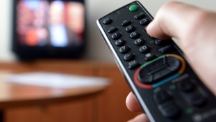 Remote control and television set.