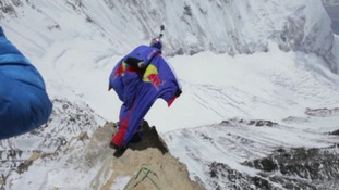 Re-live record-breaking Everest base jump with daredevil's helmet camera