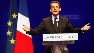 French President and UMP candidate Nicolas Sarkozy speaks at his campaign headquarters