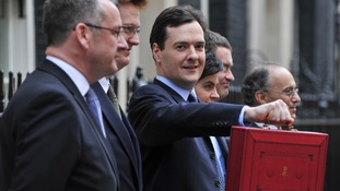 George Osborne with his Budget case outside 11 Downing Street