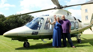 Adrian Bayford and wife Gillian after winning £148.7 million in the EuroMillions