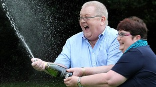 Colin and Chris Weir, from Largs in Ayrshire, celebrate their £161 million win