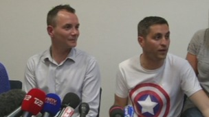 Vincent Autin (R) and Bruno Boileau at a press conference on Tuesday