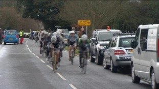 Screen grab of cyclists competing in the 2012 Severn Bridge Road Race