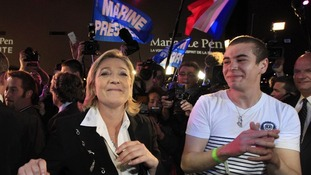 Marine Le Pen with supporters