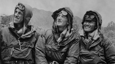 The first conquerors of Everest, Edmund Hillary (left) and Sherpa Tenzing Norgay (right), with expedition leader Colonel John Hunt (centre)
