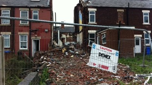"The remains of the Tinsley 'gas blast"" house"