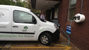 City of Lincoln Council's new electric van on charge