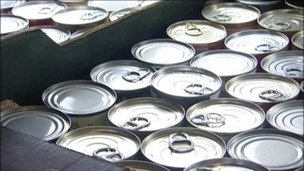 Tinned food at a foodbank