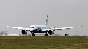 Boeing's new 787 Dreamliner lands after a test flight