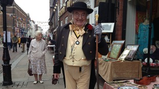 Man dressed as Charles Dickens character, Mr Pickwick, at the Rochester Dickens Festival