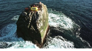 Greenpeace activists occupy Rockall in 1997