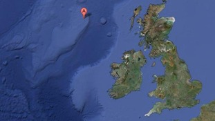Rockall is so small it does not show up as land at all on Google Maps