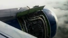 A passenger video from the time showed the engine in trouble in the air.