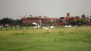 A home is in pieces, east of El Reno, Oklahoma.