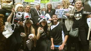 Some protesters dressed as badgers during the protest.
