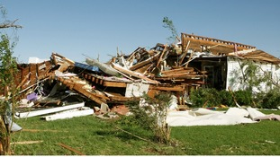 A tornado-damaged house in El Reno, Oklahoma.