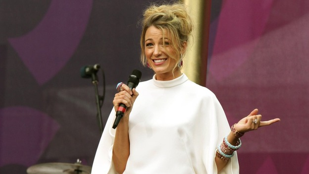 Gossip Girl's Blake Lively on stage at The Sound of Change concert in Twickenham Stadium.
