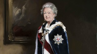 A portrait of the Queen commissioned by the Royal Mail to mark the 60th anniversary of the Coronation