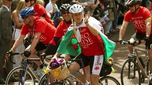 Cyclists take part in the Hero Ride, in aid of the armed forces charity Help for Heroes.