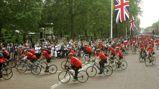 The fundraisers in London include 300 people from Paris, who have cycled from France over five days.