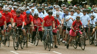 Singer James Blunt (centre) takes part in the Hero Ride, in aid of the armed forces charity Help for Heroes.