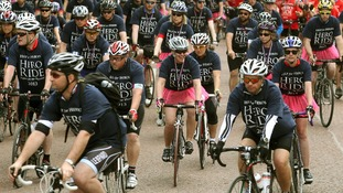 Cyclists take part in the Hero Ride in central London.