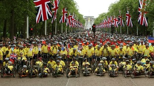 Cyclists take part in the Hero Ride, in aid of the armed forces charity Help for Heroes along The Mall in central London.