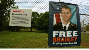 A poster of Private Bradley Manning outside the US Army's Fort George G Meade in Maryland