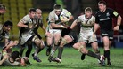 Northampton&#x27;s Alex Waller (centre) is tackled by Saracens Steve Borthwick